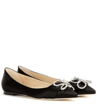 embellished satin black shoes