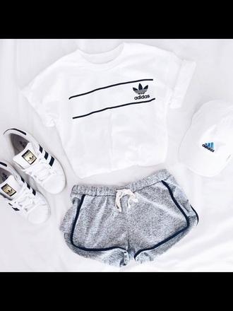 shorts adidas cotton white t-shirt grey shorts sports shorts