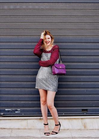 m&m fashion bites blogger sweater dress shoes bag belt hat shirt jewels skirt pants underwear purple bag fall outfits sandals dress over t-shirt mini dress