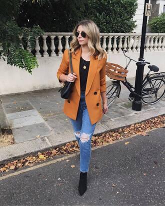 jacket black top tumblr blazer mustard denim jeans blue jeans skinny jeans ripped jeans boots black boots top