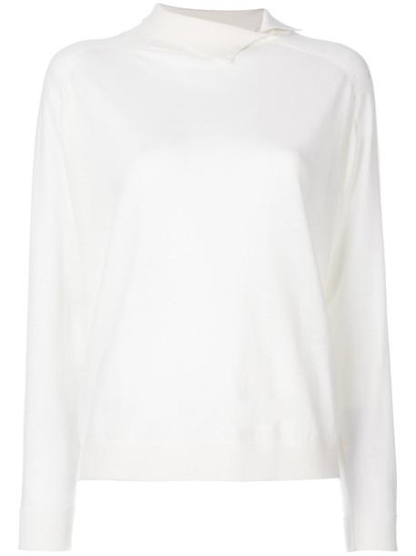 Cividini - slit neck jumper - women - Cashmere - 40, White, Cashmere
