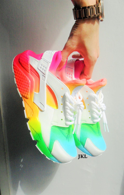 bbde5a1ffa95 Tie dye Neon  SUMMERS  white Nike Air Huarache customs. Unisex.