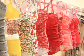 swimwear all school pretty girly floral red pink retro yellow bikini polka dots vintage colorful