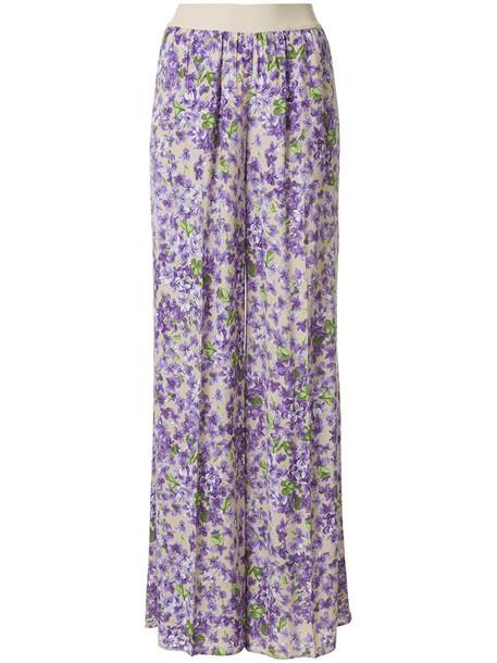 Twin-Set women floral print purple pink pants