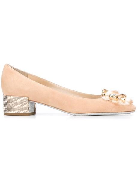 René Caovilla fur fox women embellished pumps leather nude shoes