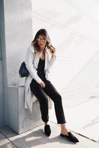 top coat tumblr bodysuit black bodysuit denim jeans black jeans cropped bootcut jeans shoes mules