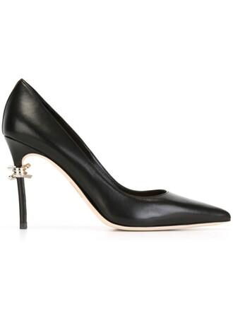 women babe pumps leather black shoes