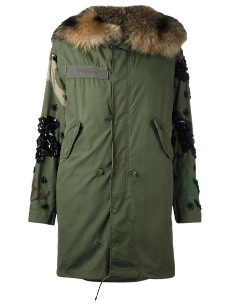 Night Market parka fur fox women cotton green coat