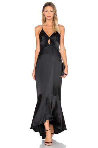 gown layered satin black dress