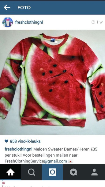sweater red melon green loveit needit