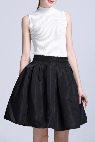 skirt dezzal white skater skirt cute black and white