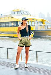 to be bright,blogger,shorts,shoes,belt,hat,green shorts,sneakers,cap