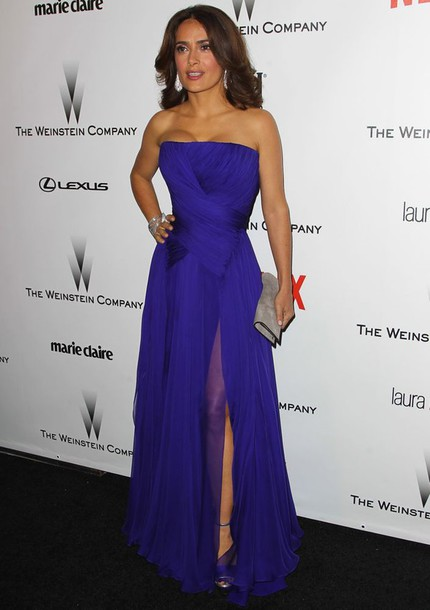 salma hayek strapless gown layered blue dress dress