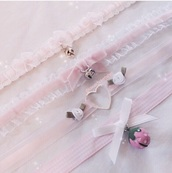 jewels,choker necklace,dd/lg,collar,pink,lace,white