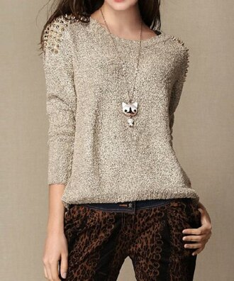 sweater fall outfits fall sweater studs studded streetwear style autumn/winter comfy warm knitwear spikes
