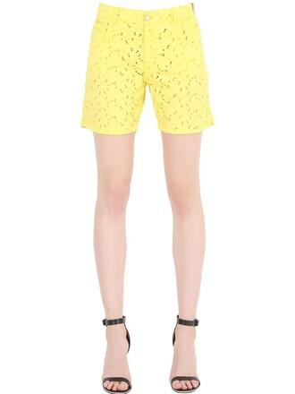 shorts denim shorts denim cotton yellow