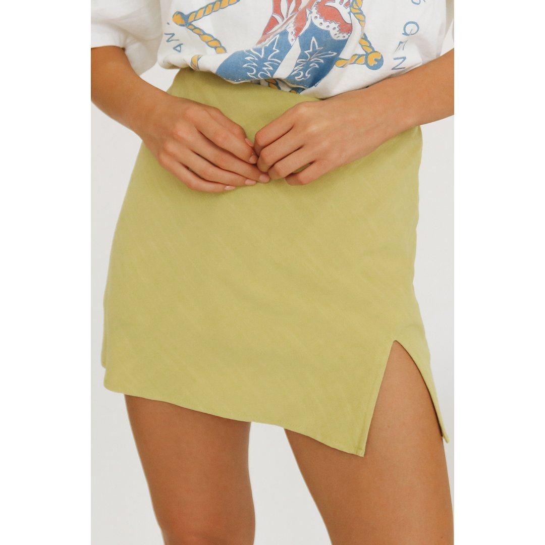 True To Fashion Mini Skirt // Lime