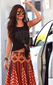 skirt,crop tank,tribal pattern,blouse,selena gomez,shirt,boho,orange skirt,brown skirt,boho chic,selena gomez boho maxis skirt