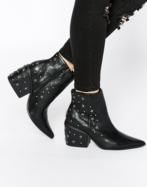 ASOS EL PASO Western Studded Ankle Boots at asos.com