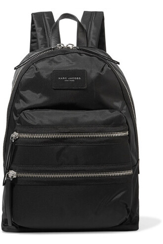 shell backpack leather black bag