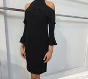 cut out shoulder,little black dress,dress,black,cold shoulders,high neck draped