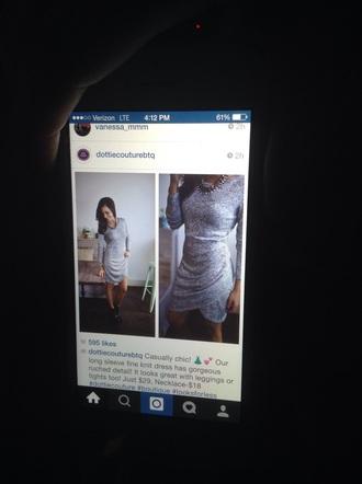 grey dress long sleeves
