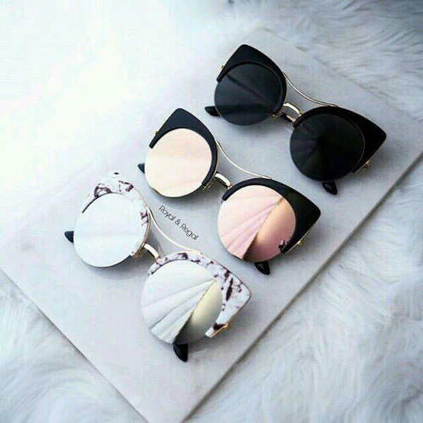 Black Round Cat Eye Sunglasses With Brow Bar