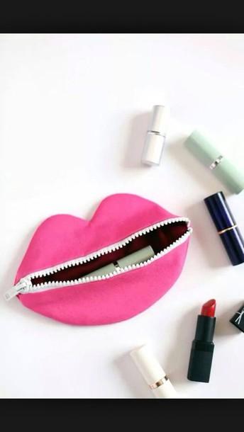 bag makeup bag makeup bag lips makeup bag pink cute