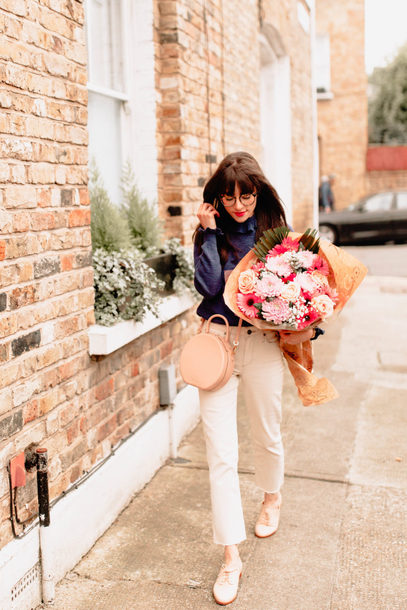 bag pants top crossbody bag pink bag shoes flowers