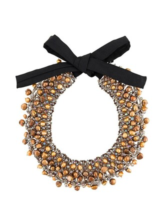 women pearl necklace brown jewels