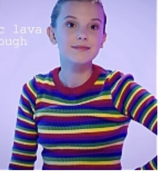 sweater millie bobby brown rainbow stripes rainbow stripe blouse