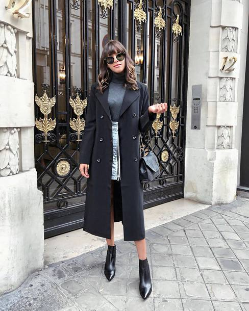 top tumblr grey top turtleneck grey turtleneck top skirt mini skirt coat black coat boots black boots ankle boots sunglasses