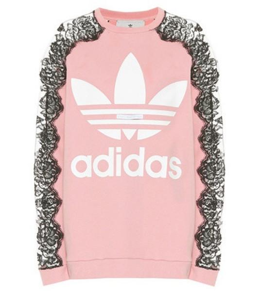 Stella McCartney Lace-trimmed sweatshirt in pink