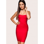 Clothing : Bandage Dresses : 'Leyla' Red Strapless Bandage Dress