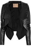 Max Azria|Cotton-paneled leather jacket|NET-A-PORTER.COM