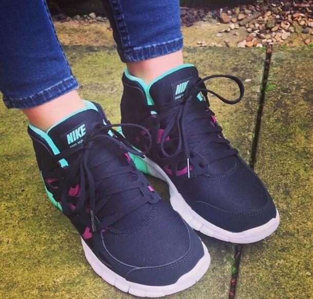 f12be4313aab2 shoes black mint aqua blue green white nike nike free run nike free run  sneakers trainers