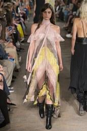 dress,philosophy di lorenzo serafini,lace dress,lace,midi dress,milan fashion week 2016,runway,Taylor hill
