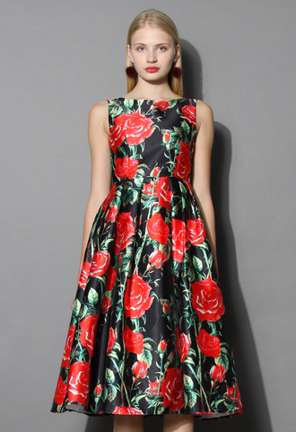 dress rosy night print prom dress prom dress floral party chicwish