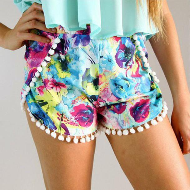 shorts short pants bottom beach summer cute floral blue love girl fashion vogue internet tumblt pom flowers grunge.boho bohemian boho hipster dealsforyou