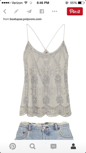 shirt silver chiffon beaded