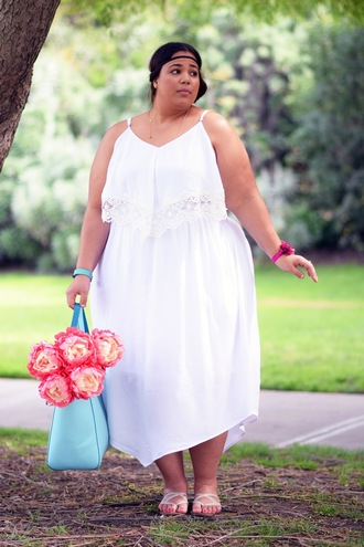 garner style blogger dress shoes bag plus size dress white dress midi dress plus size curvy