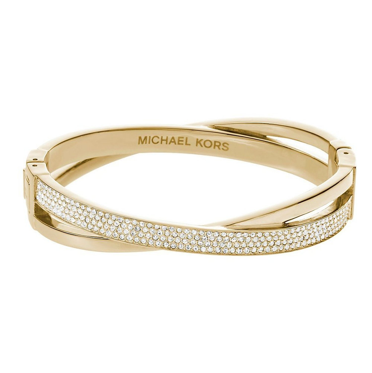 Amazon.com: mkj2847 criss cross bangle bracelet gold tone crystal pave: jewelry