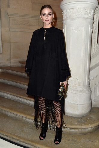 dress cape fringes black olivia palermo booties fashion week 2016 purse shoes bag