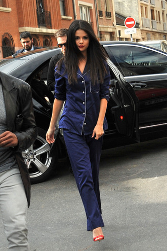 pajamas selena gomez blue nightwear red heels red sandals all navy blue outfit