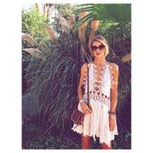 dress,white dress,coachella,boho dress,boho,rosie huntington-whiteley,crochet,boho chic,bohemian,white,short dress,lace,hippi,cut-out,sexy,summer,beach,coachella dress,hippie,cream dress,romper,must haves,beach dress,sunglasses,summer dress,style,halter dress