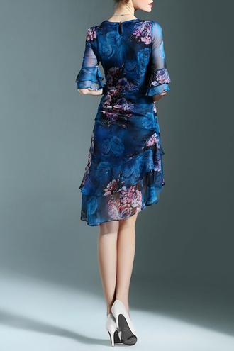 dress dezzal chiffon summer chic stylish blue boho floral