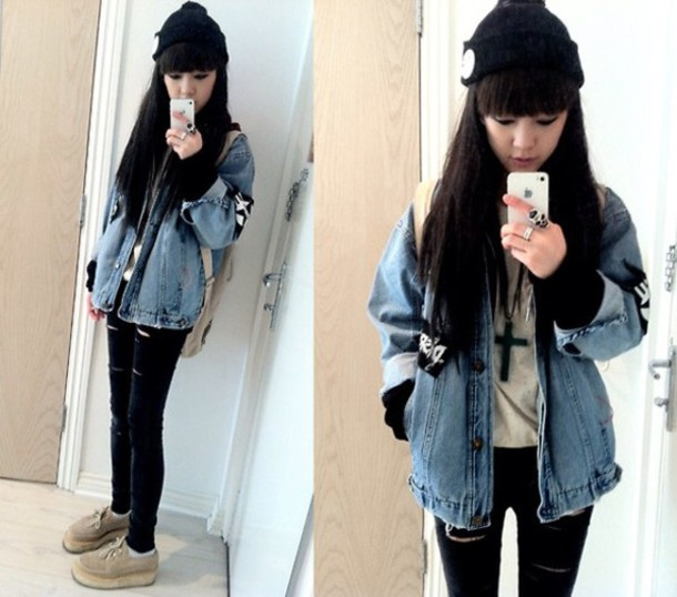 jacket,acid wash,denim jacket vintage coat,blue jean jacket,punk
