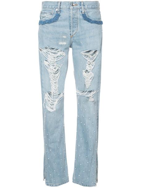 Jonathan Simkhai jeans women embellished cotton blue