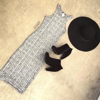 grey dress midi dress fall booties boots cute booties sun hat fall hat
