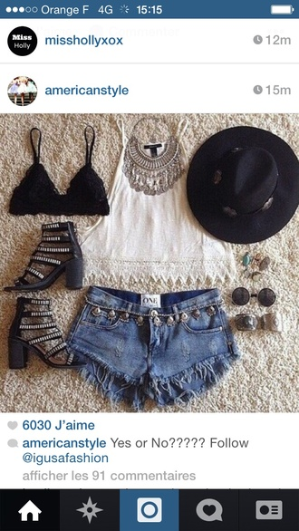 jewels necklace fashion girly instagram top shoes black white summer outfits bra sunglasses underwear